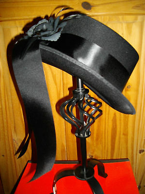 SATIN Style Riding Top Hat Blk flower long tails Victorian SteamPunk Goth Whitby