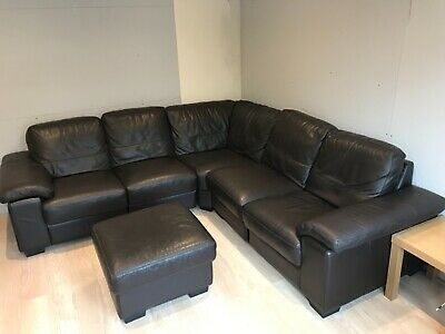 Cool Dfs Linea Premium Leather Modular Corner Sofa And Footstool Squirreltailoven Fun Painted Chair Ideas Images Squirreltailovenorg