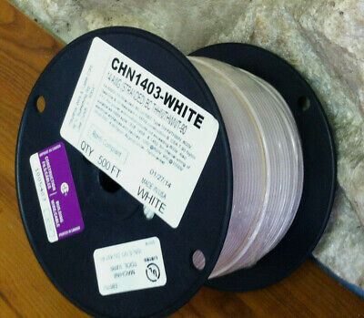 WHITE on Sale----500 FT THHN/THWN WIRE 14 AWG STRANDED 600 VOLT. MADE IN USA.