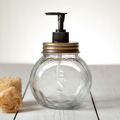 Country SELLERS SOAP LOTION DISPENSER ANTIQUE BRASS Farmhouse Holder Glass Jar