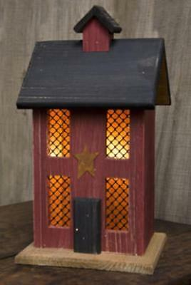 Primitive LIGHTED HOUSE W/CHIMNEY & STAR Saltbox Country Farmhouse Rustic Wood