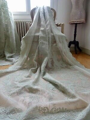 LAURA ASHLEY LACE CURTAINS French SHABBY CHATEAU chic CHERUB TOILE sheer/voiles