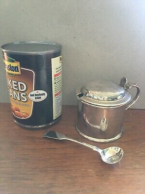 Solid Silver Mustard Pot 1924 And Spoon 1839