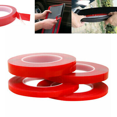 Double Sided Super Sticky Clear Tape Red Strong 5m Craft DIY Roll 5-30mm