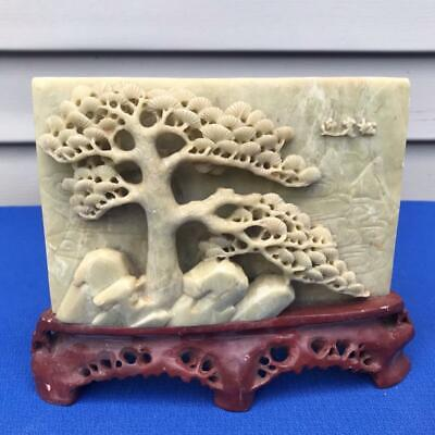 """Beautiful Vintager Hand Carved Chinese Soapstone Sculpture 8"""" x 7.5"""""""