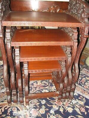 Vintage Early 20Th Century Asian/oriental Carved Teakwood Set 4 Nesting Tables