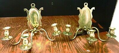 "Pair of Antique Hand Made Triple Arm Brass Sconces 8.75"" x 1.5"" x 8.25"" VG-EX"
