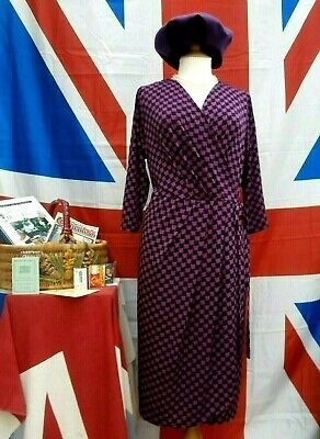 Retro Vintage 1940`s wartime style Home front Land girl tea / day dress size 20