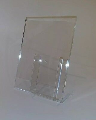 3 Clear Acrylic 8.5x11 Display Sign Holders W Vertical Brochure/Bus Card Holder