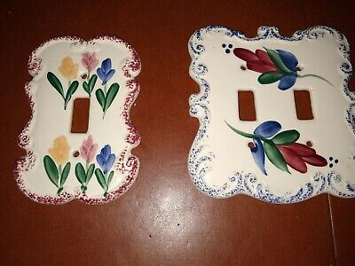 2 Vintage Multiple color floral Porcelain Light Switch Plate Covers Dbl & Single