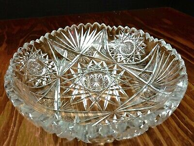 "Antique American Brilliant 8"" Hobstar / Fan Cut Glass Bowl Sawtooth Edge Excell"