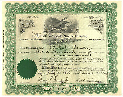 Ajax Nevada Gold Mining Company. Stock Certificate. 1914