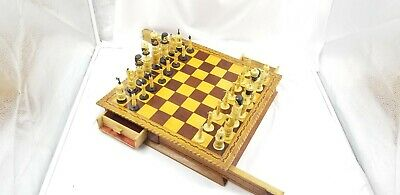 Antique Hand Carved Bone & Wood Chess Set Hand Painted Folk Art