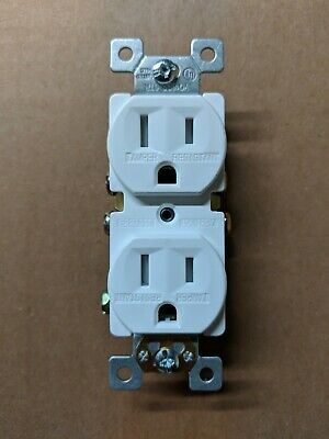 10 pc 15A Standard Duplex Receptacles 15 Amp Tamper Resistant TR Outlets WHITE