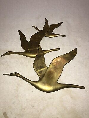 Brass Geese Vintage Flying Wall Hanging Duck