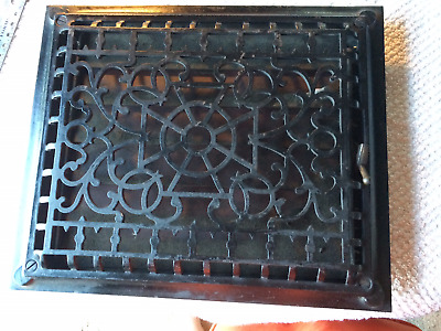 Vintage Cast Iron Heat Grate with Louvers  ~  Heat Vent Wall Register