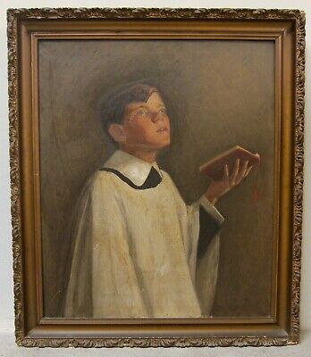 19th Century Vintage Original American Oil Painting Portrait Alter Boy Catholic