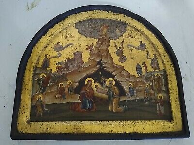 Antique 18-19th C Russian Icon Hand Painted Wood Panel  Estate find