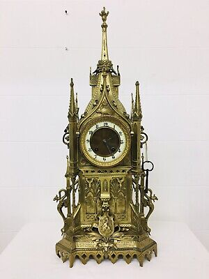 Rare 1893 Pugin Style GOTHIC REVIVAL Gilt Bronze Brass * * CATHEDRAL Large CLOCK