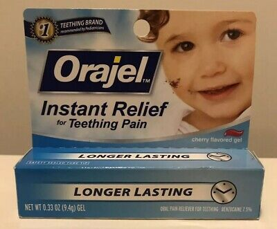 Orajel Instant Relief Teething Gel .33 OZ Cherry Exp 3/2020 Discontinued