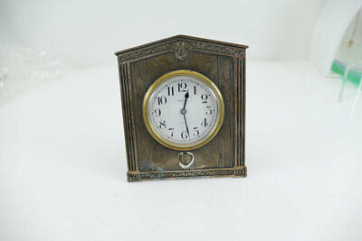 Fine Sterling Silver Folding Boudoir / Desk  Clock  Art Deco  1920's   Works!!