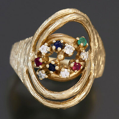 14K Ruby, Blue Sapphire Emerald And Diamond Mixed Stone Artisian Cocktail Ring
