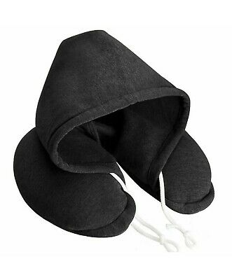 New Soft Comfortable Black Hooded Neck Travel Pillow Airplane Pillow with Hoodie