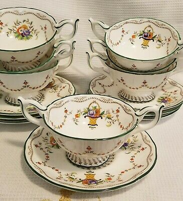 Coalport FLOWER BASKET & SWAGS 7 Soup Cups & 7 Saucers