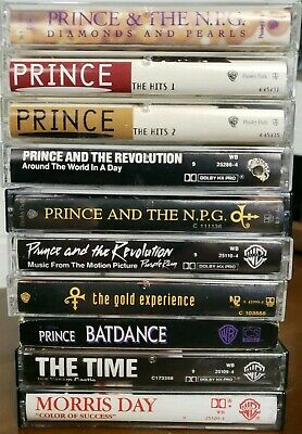 Lot of 10 Prince Cassette Tapes: NPG The Time, Purple Rain, Diamonds and Pearls