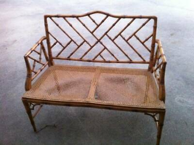 Faux Bamboo Settee Chinese Chippendale Vintage Hollywood Regency Bench Chairs