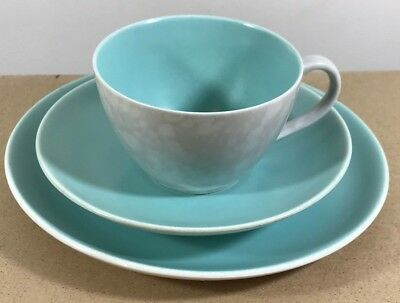 Vintage Poole Pottery Blue/Grey Twin Tone Trio Cup Saucer Plate