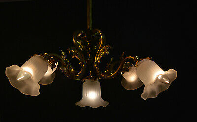 Vintage 1930s French 5 arm bronze brass chandelier frosted opaline glass shades
