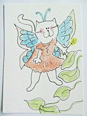 ACEO Original Watercolor Cat Kitty Little Tabby Fairy Signed by Artist MiloLee