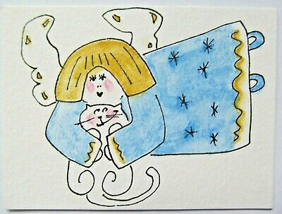 ACEO Original Watercolor Cat Angel Wings White Kitty Blue Gold by Artist MiloLee