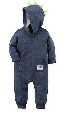 NWT Carters Baby Boys 3 Months Dinosaur Romper Outfit Hood Fall Winter Blue