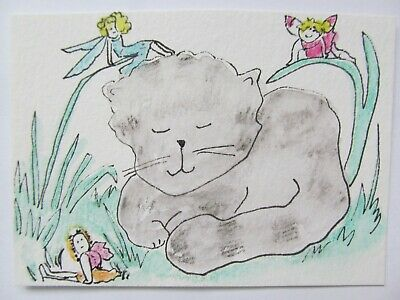 ACEO Original Watercolor Tabby Cat and Little Fairies Signed by Artist MiloLee