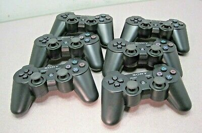 LOT of SIX SONY PS3 PLAYSTATION WIRELESS CONTROLLER BLACK DUAL SHOCK 3 SIX AXIS