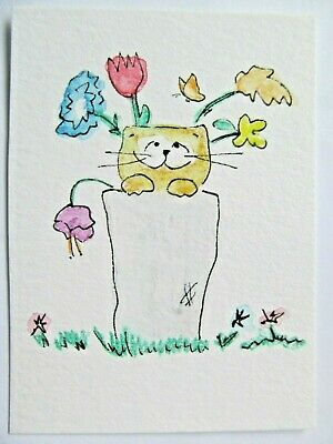 ACEO Original Watercolor Cat in Vase Flowers Kitty Signed by Artist MiloLee