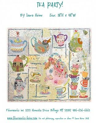 Tea Party! Collage Quilt Pattern By Laura Heine of Fiberworks