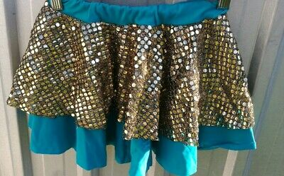Bulk Lot Of Preloved Dance Costumes 7x kids teal skirts with gold sequin overlay