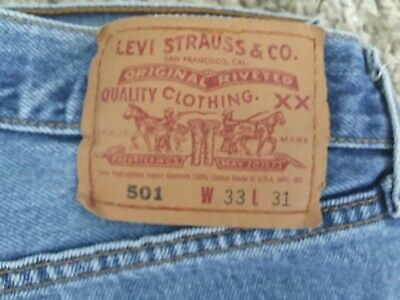 Vintage Levis 501 Denim Jeans 501-0193 Made in USA 33x31 Faded Blue