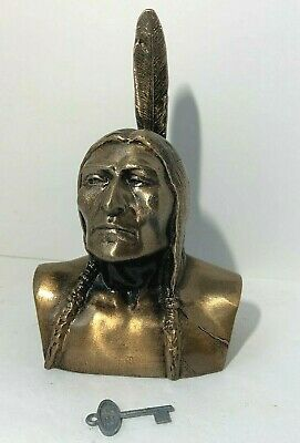 VINTAGE Banthrico  AMERICAN INDIAN CHIEF Novelty STILL Bank WITH KEY 1974