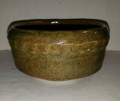 Rowe Pottery Early Vintage Hand Thrown Bowl With Relief Border Design, Marked