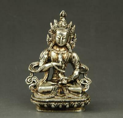 chinese old  copper plating silver KWAN-YIN  Buddha  statue hand-carved a01