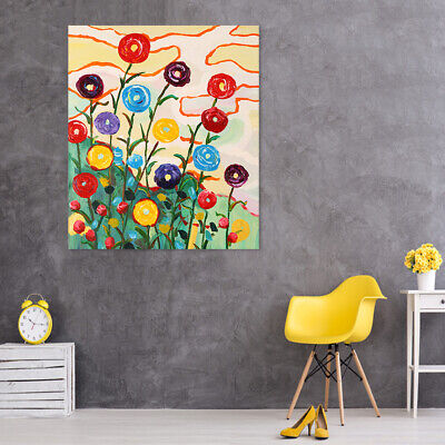 Abstract Handmade Oil Painting Canvas Modern Wall Art Home Decor Framed Flowers