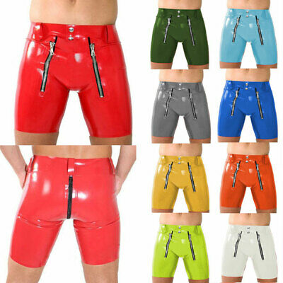 100% Latex Rubber Men Sexy Hip Tight Shorts With Double Zipper 0.4mm Size S-XXL