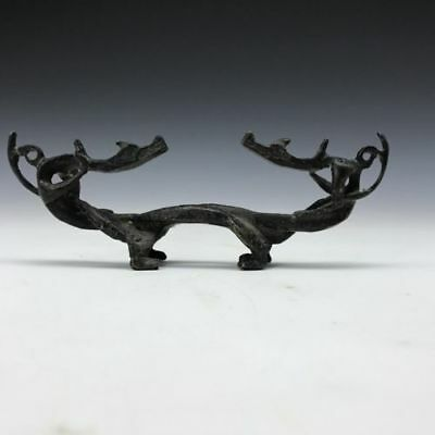 Chinese antique pure hand-carved bronze dragon pen rack