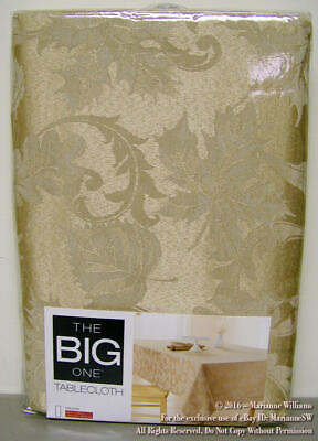NEW LIGHT GOLD DAMASK THANKSGIVING TABLECLOTH OBLONG 60 x 144 FALL LEAFS ELEGANT