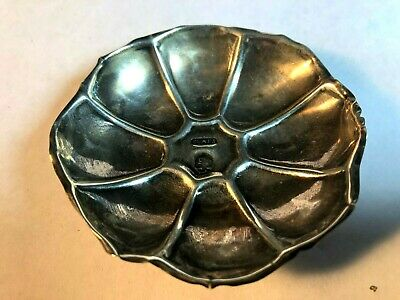 Small Footed Lotus Flower Formed Sterling Silver Hand Wrought Dish Signed ELAES