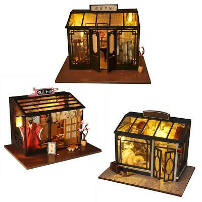 DIY LED Wooden Dollhouse Wooden Furniture Kit Doll House Shop Series Kid's Toy